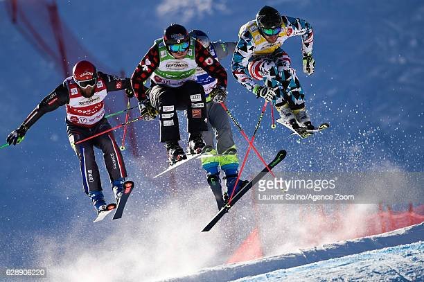 Brady Leman of Canada takes 2nd place, Jonas Devouassoux of France competes, Thomas Zangerl of Austria competes during the FIS Freestyle Ski World...