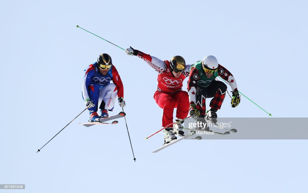 Brady Leman of Canada wins his semi final during the Men's Ski Cross at Phoenix Snow Park on February 21, 2018 in Pyeongchang-gun, South Korea.