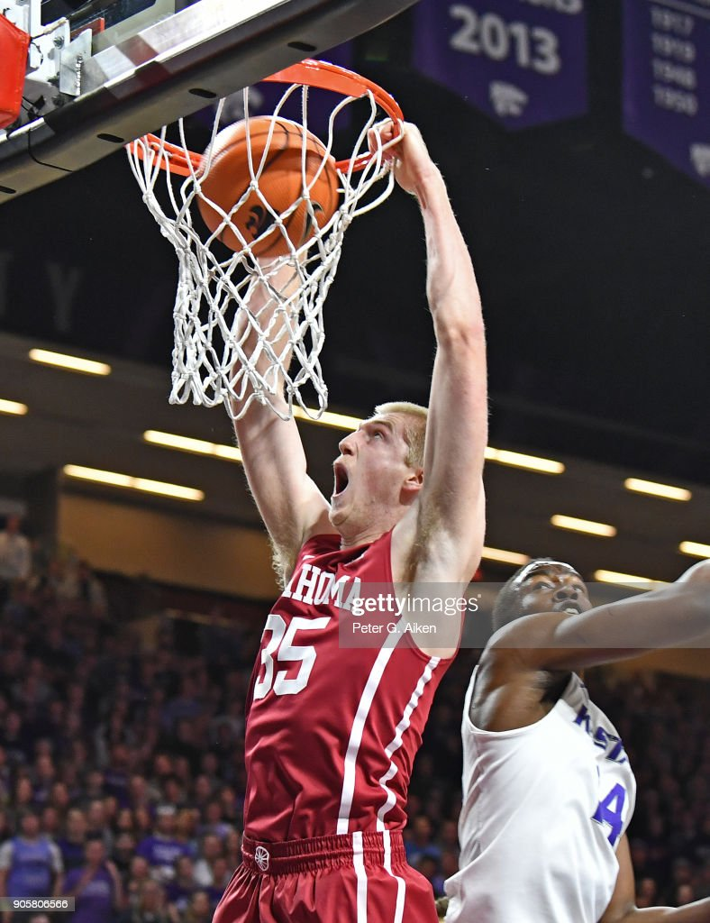 Brady Manek #35 of the Oklahoma Sooners scores a with a dunk against the Kansas State Wildcats during the first half on January 16, 2018 at Bramlage Coliseum in Manhattan, Kansas.