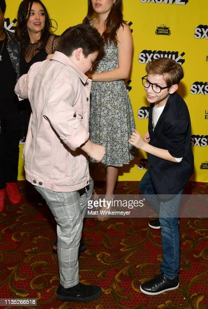 Brady Noon and Jacob Tremblay attend the Good Boys Premiere 2019 SXSW Conference and Festivals at Paramount Theatre on March 11 2019 in Austin Texas