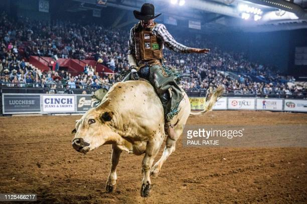 TOPSHOT Brady Portenier of Caldwell Indiana competes in the El Paso County Colosseum during the Tuff Hedeman Bull Riding Tour on February 16 2019...