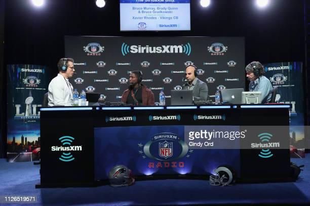 Brady Quinn Xavier Rhodes Bruce Gradkowski and Bruce Murray attend SiriusXM at Super Bowl LIII Radio Row on January 31 2019 in Atlanta Georgia