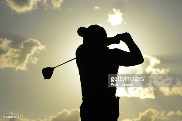 Brady Schnell makes a tee shot on the 11th hole during round two of the Webcom Tour Pinnacle Bank Championship on July 21 2017 at the Indian Creek...