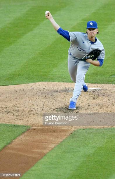 Brady Singer of the Kansas City Royals pitches against the Detroit Tigers during the fourth inning at Comerica Park on May 11 in Detroit, Michigan.