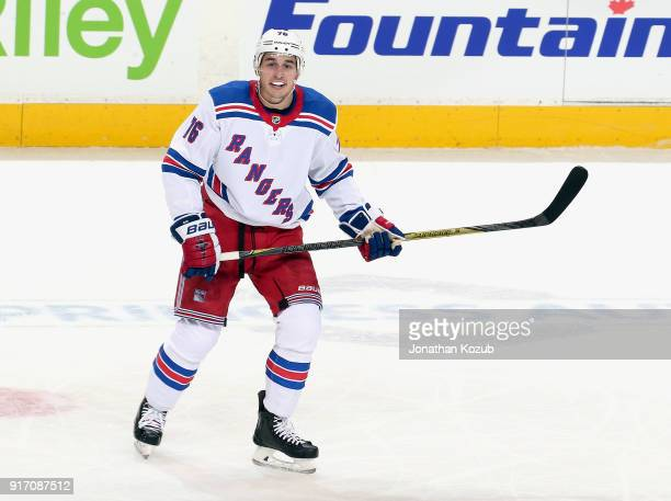 Brady Skjei of the New York Rangers keeps an eye on the play during second period action against the Winnipeg Jets at the Bell MTS Place on February...