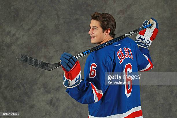 Brady Skjei of the New York Rangers poses for an NHLPA Rookie Showcase portrait at the Westin Harbour Castle on August 312015 in Toronto Ontario...