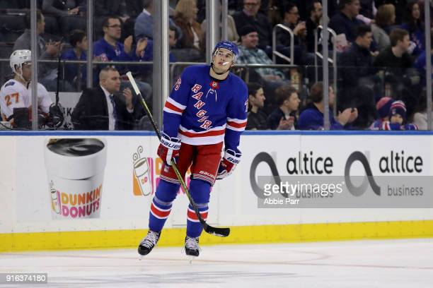 Brady Skjei of the New York Rangers reacts in the first period against the Calgary Flames during their game at Madison Square Garden on February 9...