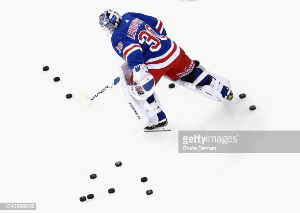 Brady Skjei of the New York Rangers skates in warmups prior to the game against the New Jersey Devils at Madison Square Garden on September 24 2018...
