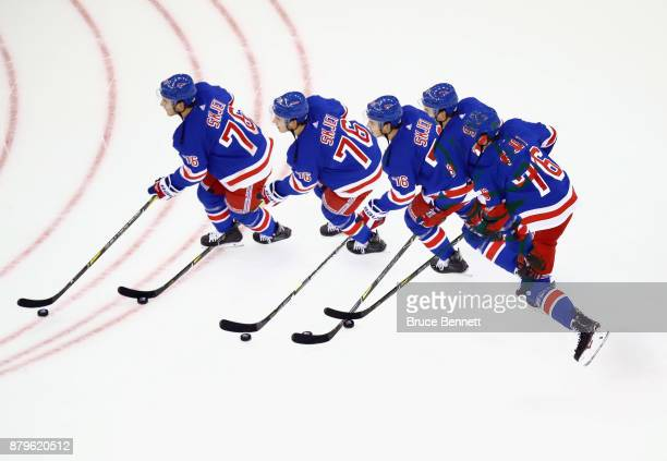 Brady Skjei of the New York Rangers skates in warmups prior to the game against the Vancouver Canucks at Madison Square Garden on November 26 2017 in...