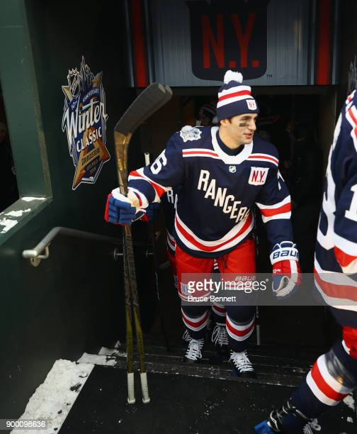 Brady Skjei of the New York Rangers walks out for practice at Citi Field on December 31 2017 in the Flushing neighborhood of the Queens borough of...