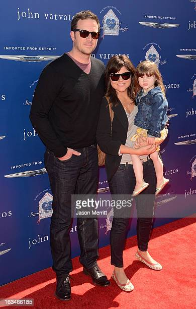 Brady Smith and actress Tiffani Thiessen with daughter Harper attend the John Varvatos 10th Annual Stuart House Benefit presented by Chrysler Kids...