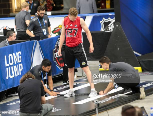 Brady Tkachuk completes the long jump test during the NHL Scouting Combine on June 2 2018 at HarborCenter in Buffalo New York