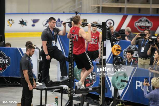 Brady Tkachuk completes the pull ups test during the NHL Scouting Combine on June 2 2018 at HarborCenter in Buffalo New York