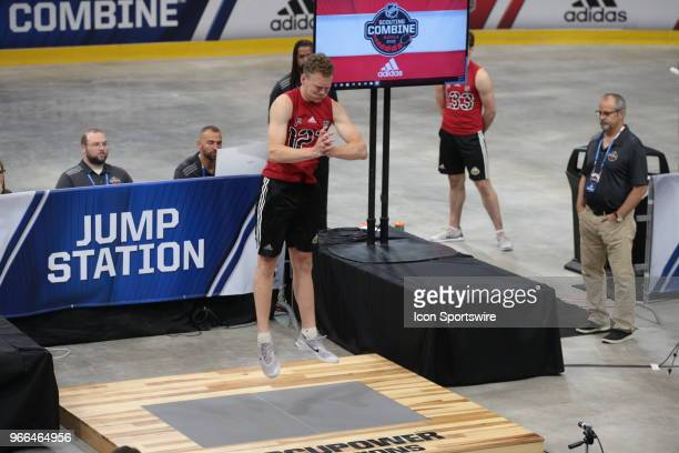 Brady Tkachuk completes the standing jump test during the NHL Scouting Combine on June 2 2018 at HarborCenter in Buffalo New York