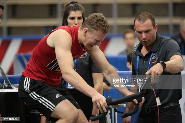 Brady Tkachuk completes the Wingate cycle test during the NHL Scouting Combine on June 2 2018 at HarborCenter in Buffalo New York