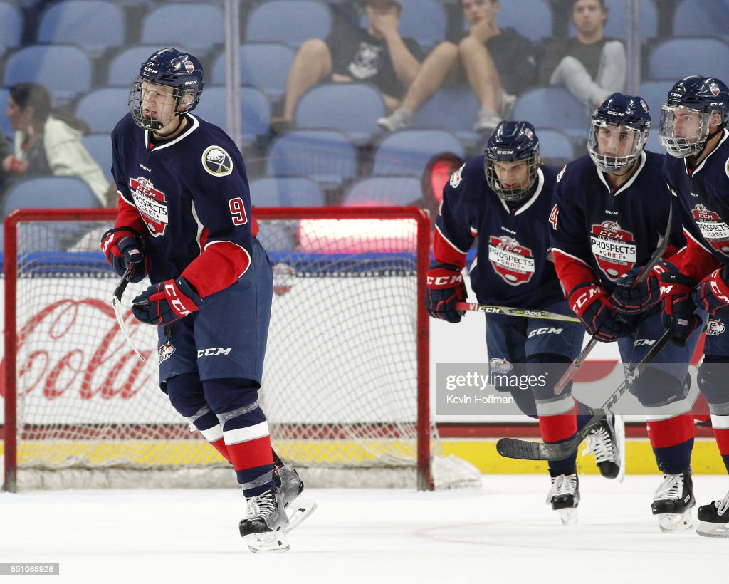 Brady Tkachuk #9 of Team Leetch skates to the bench after scoring the winning goal against Team Chelios in the third period during the CCM/USA Hockey All-American Prospects Game at the KeyBank Center on September 21, 2017 in Buffalo, New York. Team Leetch beat Team Chelios 6-5.