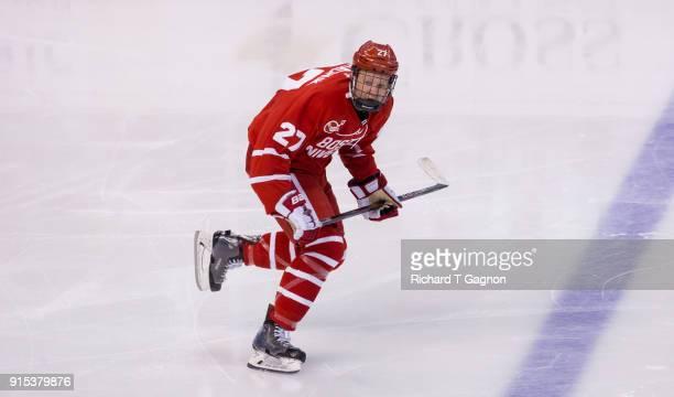 Brady Tkachuk of the Boston University Terriers skates against the Harvard Crimson during NCAA hockey in the semifinals of the annual Beanpot Hockey...