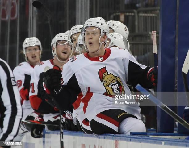 Brady Tkachuk of the Ottawa Senators celebrates a third period goal by Vladislav Namestnikov against the New York Rangers at Madison Square Garden on...