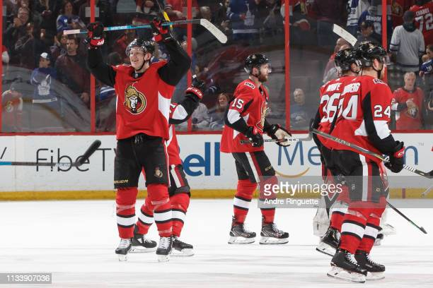 Brady Tkachuk of the Ottawa Senators celebrates a win over the Toronto Maple Leafs with teammates at Canadian Tire Centre on March 30 2019 in Ottawa...