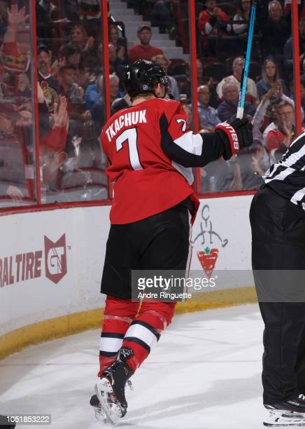 Brady Tkachuk of the Ottawa Senators celebrates his first career NHL goal in a game against the Philadelphia Flyers at Canadian Tire Centre on...