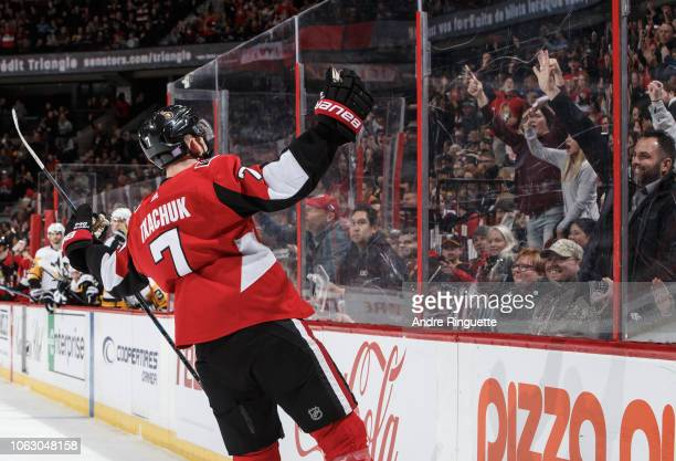 Brady Tkachuk of the Ottawa Senators celebrates his first period goal against the Pittsburgh Penguins at Canadian Tire Centre on November 17 2018 in...