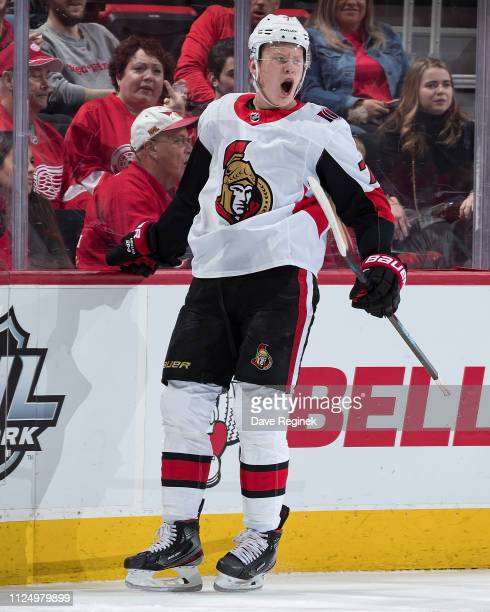 Brady Tkachuk of the Ottawa Senators celebrates his first period goal during an NHL game against the Detroit Red Wings at Little Caesars Arena on...
