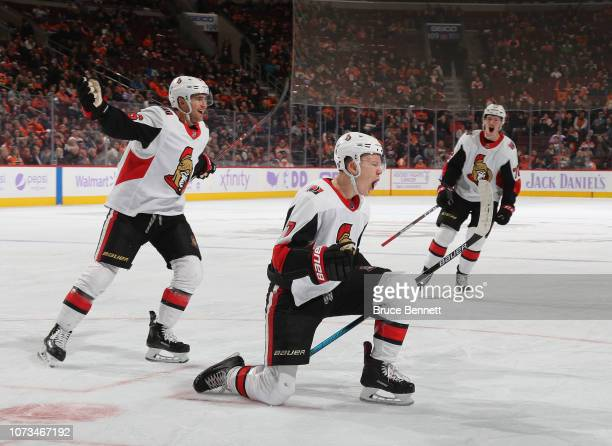 Brady Tkachuk of the Ottawa Senators celebrates his goal at 1326 of the third period against the Philadelphia Flyers at the Wells Fargo Center on...