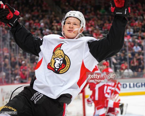 Brady Tkachuk of the Ottawa Senators celebrates his second period goal during an NHL game against the Detroit Red Wings at Little Caesars Arena on...