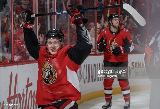 Brady Tkachuk of the Ottawa Senators celebrates his third period goal against the Carolina Hurricanes at Canadian Tire Centre on November 9 2019 in...