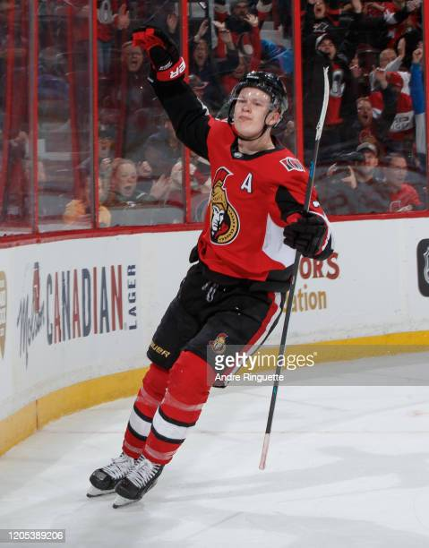Brady Tkachuk of the Ottawa Senators celebrates his third period goal against the New York Islanders at Canadian Tire Centre on March 5 2020 in...