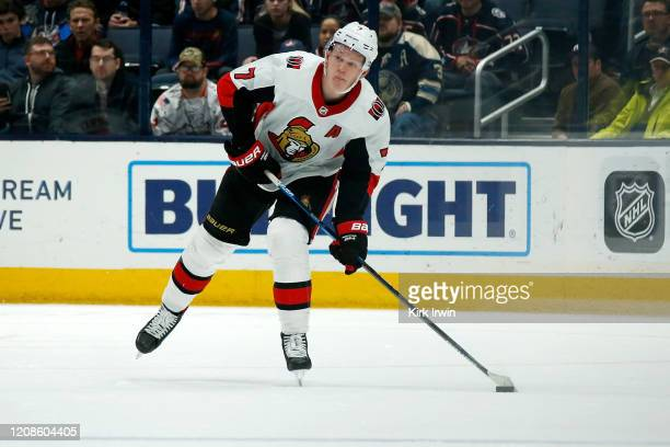 Brady Tkachuk of the Ottawa Senators controls the puck during the game against the Columbus Blue Jackets on February 24 2020 at Nationwide Arena in...