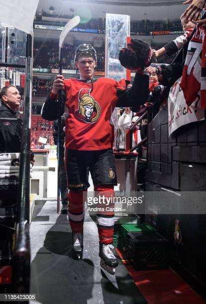 Brady Tkachuk of the Ottawa Senators leaves the ice after warmup prior to a game against the Columbus Blue Jackets at Canadian Tire Centre on April 6...