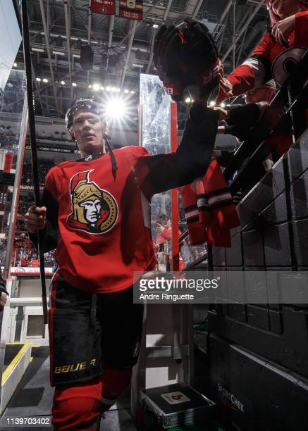 Brady Tkachuk of the Ottawa Senators leaves the ice after warmup prior to a game against the Toronto Maple Leafs at Canadian Tire Centre on March 30...