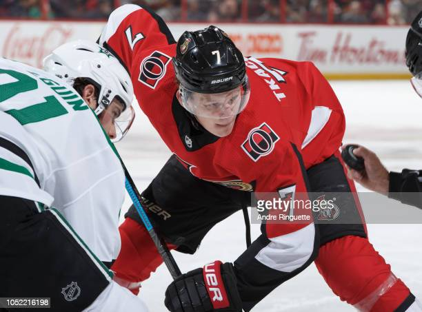 Brady Tkachuk of the Ottawa Senators prepares for a faceoff against Tyler Seguin of the Dallas Stars at Canadian Tire Centre on October 15 2018 in...