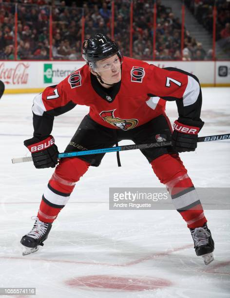 Brady Tkachuk of the Ottawa Senators prepares for a faceoff against the Dallas Stars at Canadian Tire Centre on October 15 2018 in Ottawa Ontario...