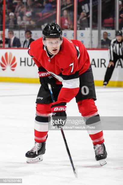 Brady Tkachuk of the Ottawa Senators prepares for a faceoff in a game against the New York Rangers at Canadian Tire Centre on November 29 2018 in...