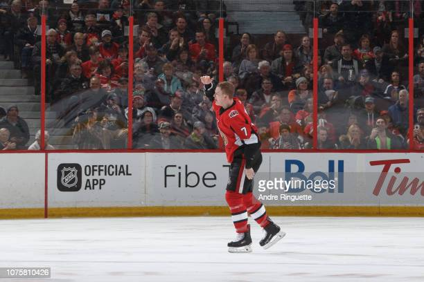 Brady Tkachuk of the Ottawa Senators pumps his fist after a fight during an NHL game against the Washington Capitals at Canadian Tire Centre on...