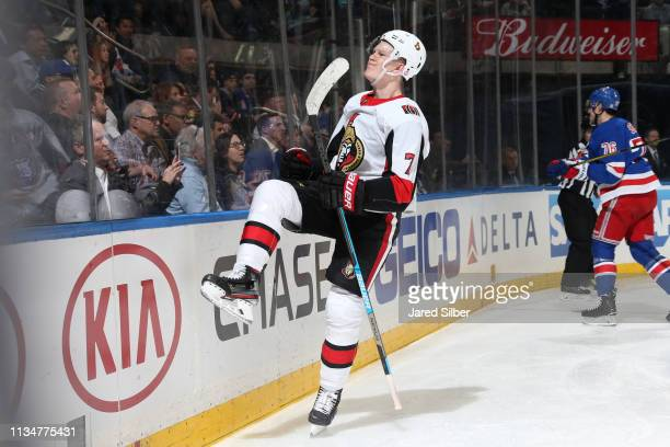 Brady Tkachuk of the Ottawa Senators reacts after scoring a goal in the second period against the New York Rangers at Madison Square Garden on April...