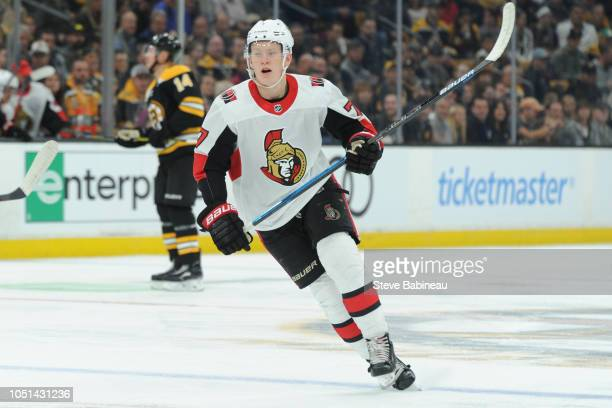 Brady Tkachuk of the Ottawa Senators skates against the Boston Bruins at the TD Garden on October 8 2018 in Boston Massachusetts