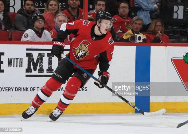 Brady Tkachuk of the Ottawa Senators skates against the Boston Bruins at Canadian Tire Centre on December 9 2018 in Ottawa Ontario Canada