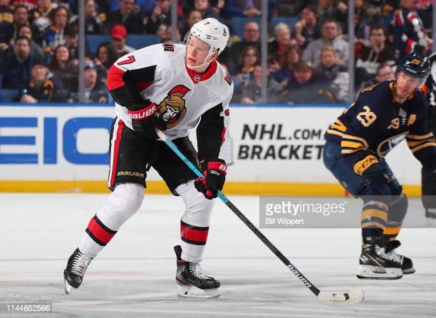 Brady Tkachuk of the Ottawa Senators skates against the Buffalo Sabres during an NHL game on April 4 2019 at KeyBank Center in Buffalo New York
