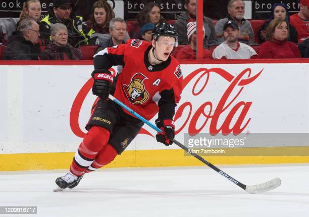 Brady Tkachuk of the Ottawa Senators skates against the Detroit Red Wings at Canadian Tire Centre on February 29 2020 in Ottawa Ontario Canada