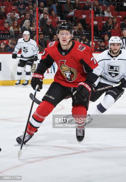 Brady Tkachuk of the Ottawa Senators skates against the Los Angeles Kings at Canadian Tire Centre on October 13 2018 in Ottawa Ontario Canada