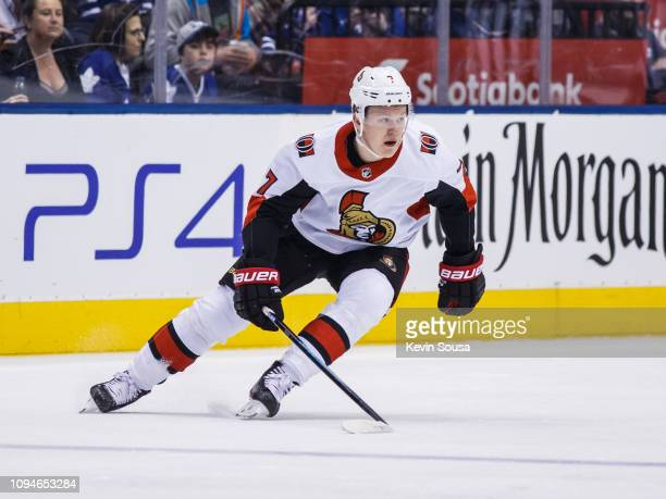 Brady Tkachuk of the Ottawa Senators skates against the Toronto Maple Leafs during the first period at the Scotiabank Arena on February 6 2019 in...