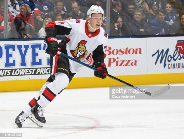 Brady Tkachuk of the Ottawa Senators skates against the Toronto Maple Leafs during an NHL game at Scotiabank Arena on February 6 2019 in Toronto...