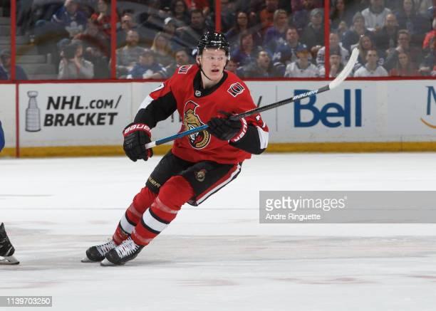 Brady Tkachuk of the Ottawa Senators skates against the Toronto Maple Leafs at Canadian Tire Centre on March 30 2019 in Ottawa Ontario Canada