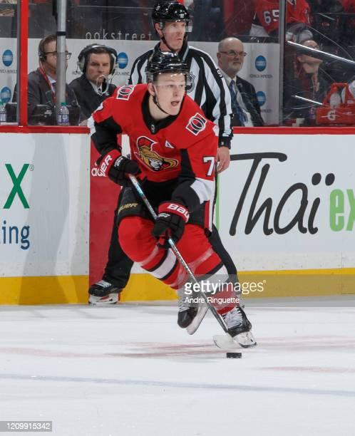 Brady Tkachuk of the Ottawa Senators skates against the Vancouver Canucks at Canadian Tire Centre on February 27 2020 in Ottawa Ontario Canada