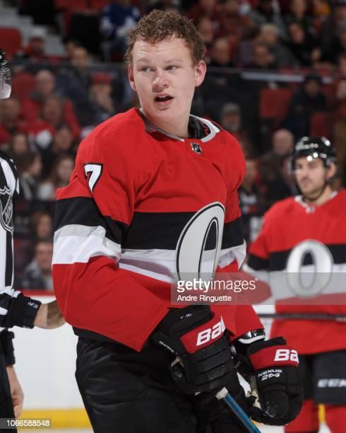 Brady Tkachuk of the Ottawa Senators skates against the Vegas Golden Knights at Canadian Tire Centre on November 8 2018 in Ottawa Ontario Canada
