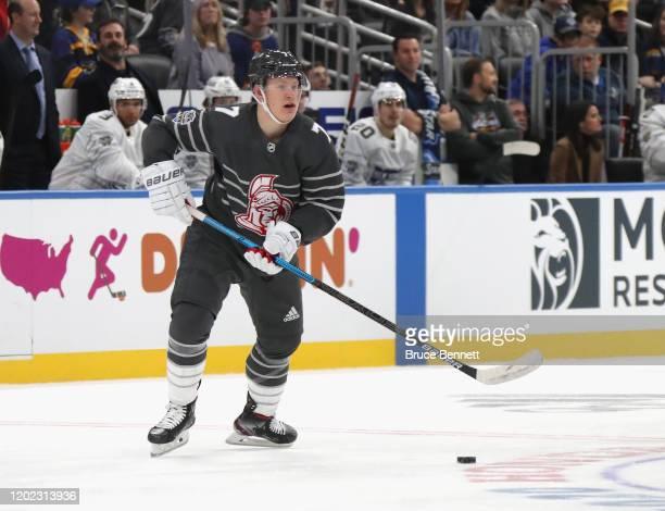 Brady Tkachuk of the Ottawa Senators skates in the game between Metropolitan Division and Atlantic Division during the 2020 Honda NHL AllStar Game at...
