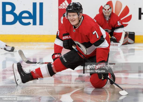 Brady Tkachuk of the Ottawa Senators smiles during warmup prior to a game against the New York Rangers at Canadian Tire Centre on November 29 2018 in...